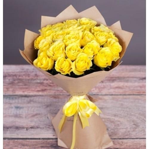 Купить на заказ Букет из желтых роз с доставкой в Уральске
